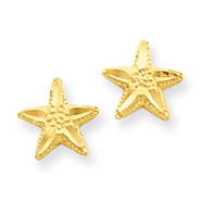 14K Gold Diamond-Cut Star Earrings
