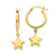 14K Gold Star Dangle On Hoop Earrings