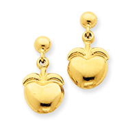14K Gold Polished Apple Dangle Post Earrings