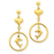 14K Gold Polished Heart & Dolphin Dangle Post Earrings