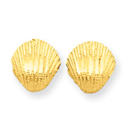 14K Gold Diamond-Cut Shell Earrings