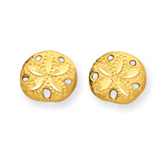 14K Gold Diamond-Cut Sand Dollar Earrings