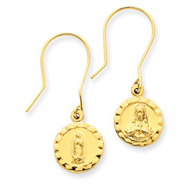 14K Gold Sacred Heart Of Jesus Earrings