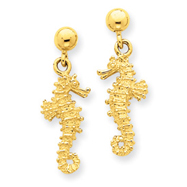 14K Gold Sea Horse Dangle Earrings