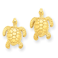 14K Gold Sea Turtle Post Earrings