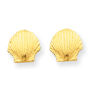 14K Gold Mini Scallop Shell Post Earrings