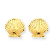 14K Gold Scallop Shell Post Earrings