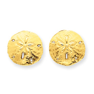 14K Gold Sand Dollar Post Earrings