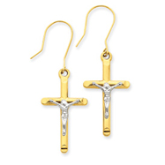 14K Two-Tone Gold Crucifix Earrings