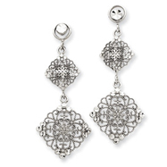 14K White Gold Filigree Dangle Post Earrings