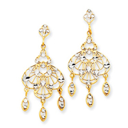 14K Gold & Rhodium Fancy Chandelier Dangle Post Earrings