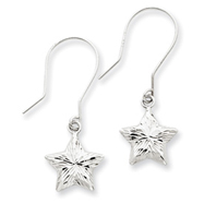 14K White Gold  3-D Diamond Cut Star Dangle Earrings