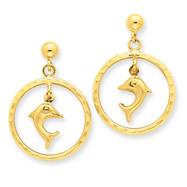 14K Gold Diamond-cut Dolphin Dangle Post Earrings