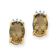 14K Gold Smokey Topaz & Diamond Post Earrings