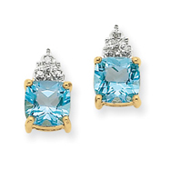 14K Gold Blue Topaz & Diamond Post Earrings