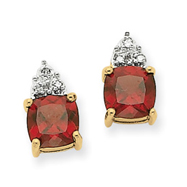 14K Gold Garnet & Diamond Post Earrings