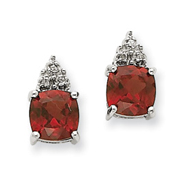 14K White Gold Garnet & Diamond Post Earrings