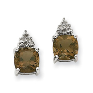 14K White Gold Smokey Quartz & Diamond Post Earrings