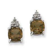 14K White Gold Smokey Quartz & Diamond Post Earrings