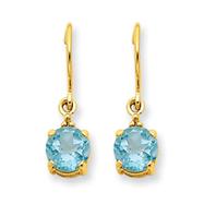 14K Gold Blue Topaz & Diamond Dangle Earrings