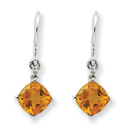 14K White Gold Citrine & Diamond Dangle Earrings