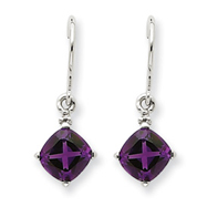 14K White Gold Amethyst & Diamond Dangle Earrings