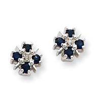 14K White Gold Blue Sapphire & Diamond Post Earrings