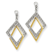 14K Two-Tone Gold 1/2Ctw Double Square Diamond Earrings