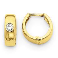 14K Gold Polished Cubic Zirconia Hinged Hoop Earrings