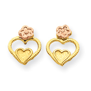 14K Two-Tone Gold Heart Earrings