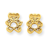 14K Gold Polished Teddy Bear Post Earrings