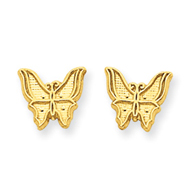 14K Gold Polished Butterfly Post Earrings