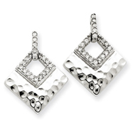 14K White Gold Diamond Dangle Post Earrings