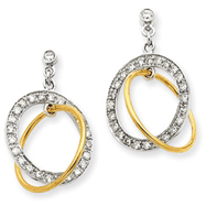 14K Two-Tone Gold 1/2Ctw Double Circle Diamond Earrings