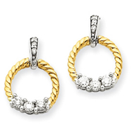 14K Two-Tone Gold Diamond Circle Post Earrings