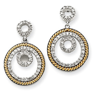 14K Two-Tone Gold Double Circle Diamond Earrings