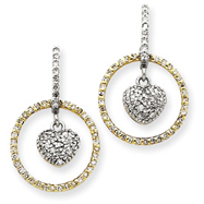 14K Two-Tone Gold Circle With Hanging Heart Diamond Earrings