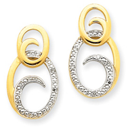 14K Gold And Rhodium Diamond Earrings