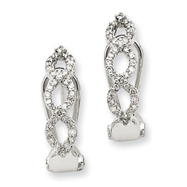 14K White Gold AA Diamond Omega Back Earrings