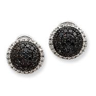 14K White Gold AA Diamond Omega Back Earrings