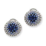 14K White Gold AA Diamond and Sapphire Omega Back Earrings