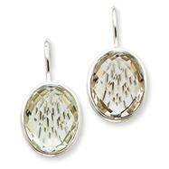 14K White Gold Green Amethyst Earrings