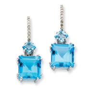 14K White Gold Blue Topaz & Diamond Earrings