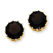 14K Gold Smokey Quartz Post Earrings