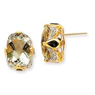 14K Gold Green Amethyst & Green Tourmaline Diamond Earrings