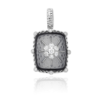 14K White Gold Black Onyx &Quartz, Diamond Pendant