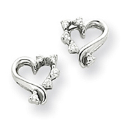 14K White Gold AA Diamond Heart Earring