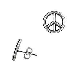 Sterling Silver Oxydized Peace Sign Stud Earrings