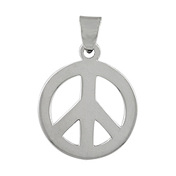 "Sterling Silver 11/16"" Peace Sign Pendant"