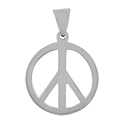 """Sterling Silver 1"""" Peace Sign Pendant"""